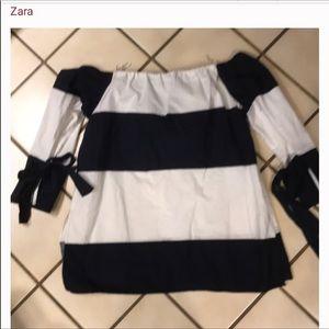 Romantic Zara striped top w/ties